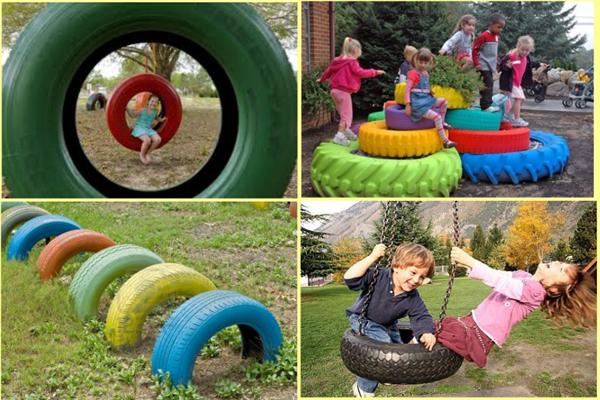 reciclagem de pneu balanço