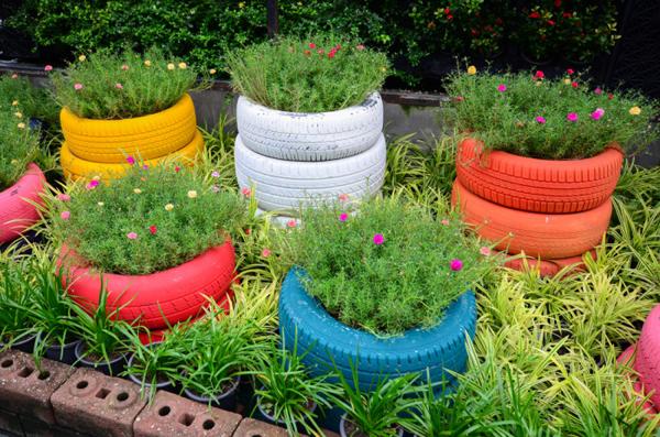 reciclagem de pneu colorida