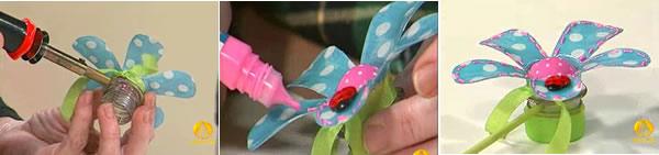 flor de pet e tecido
