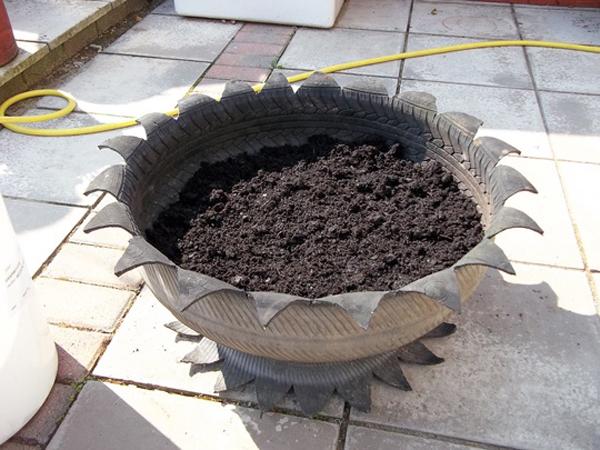 reciclagem de pneu vaso