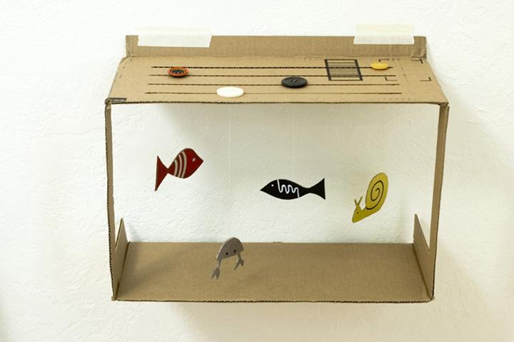 artesanato com papelão aquario