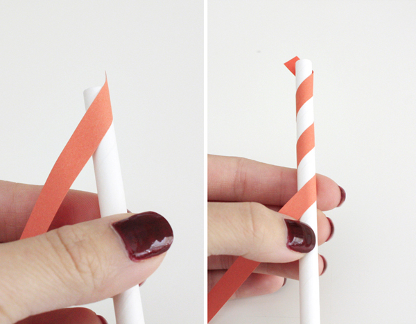 canudinho de papel colorido