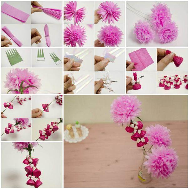 flor de papel com retalho