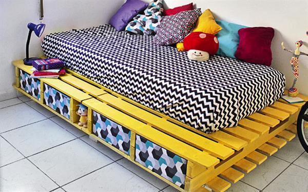 cama pallet pintada