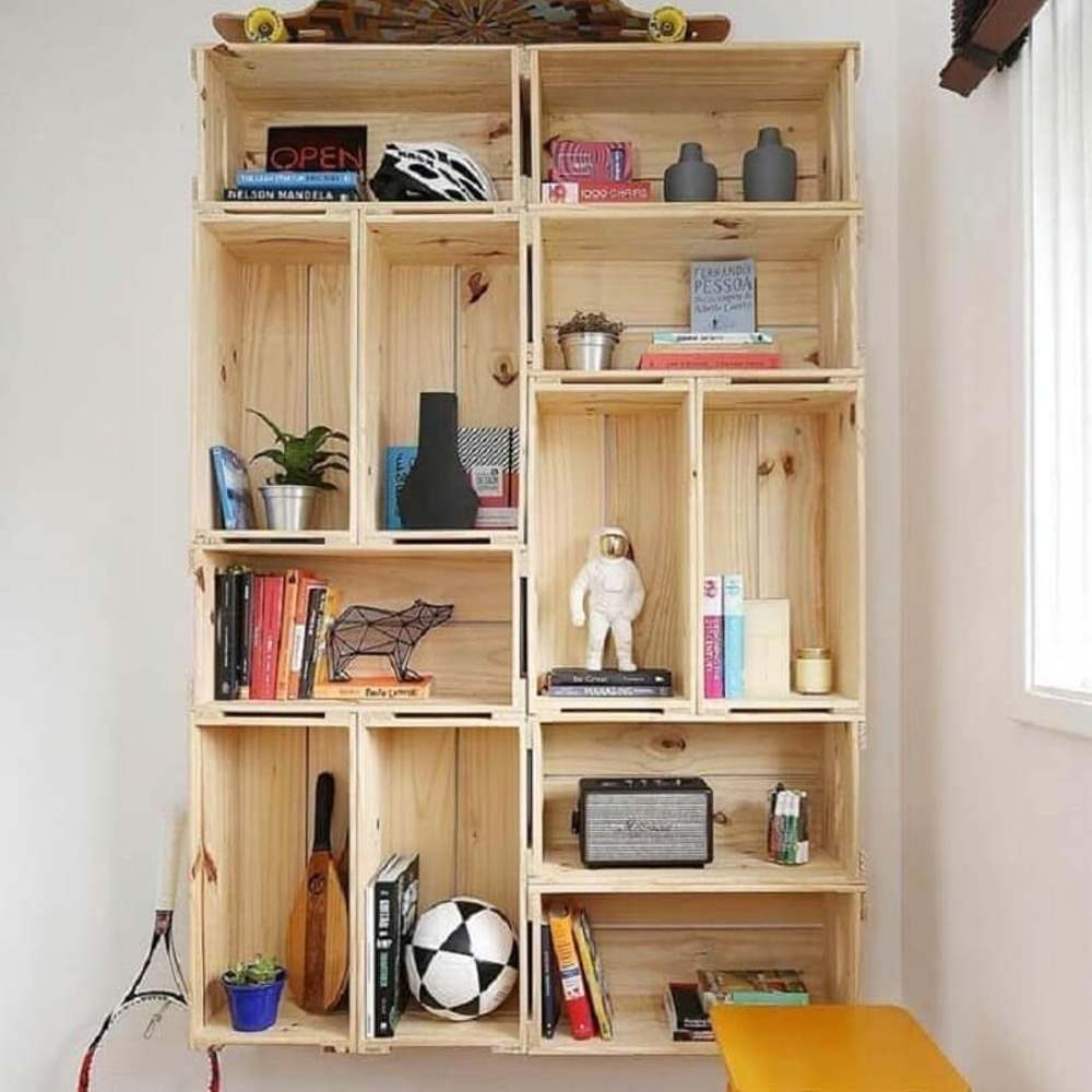 prateleiras para livros de caixotes
