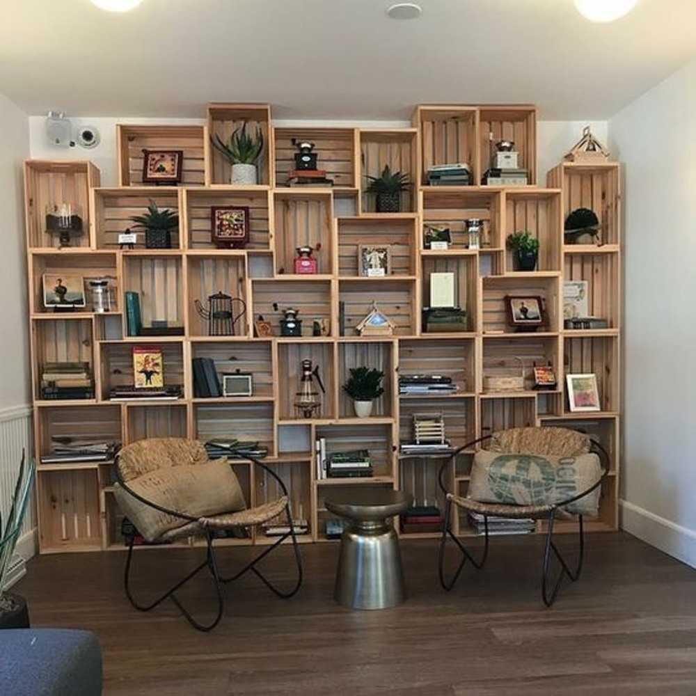prateleiras para livros de caixote
