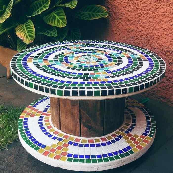 mesa de carretel com pastilha