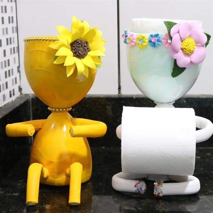 ideias criativas com garrafa pet para banheiro