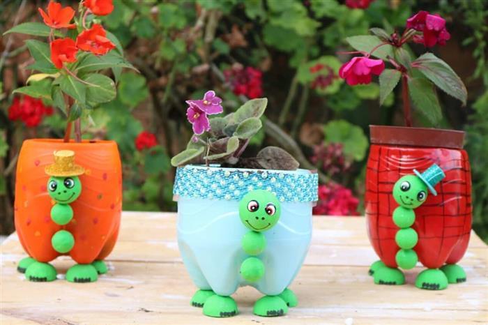 ideias criativas com garrafa pet para jardim
